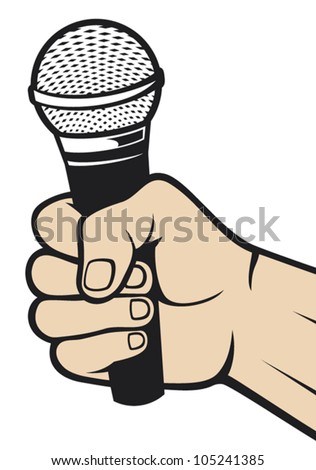 hand holding a microphone (hand with a microphone)