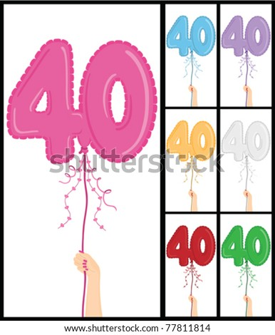 "Hand holding a number 40 shaped balloon for ""40TH Birthday"", isolated on white and in 7 color options each individually grouped and on separate layers."