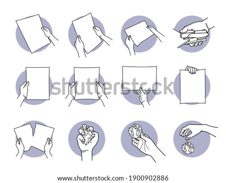 Hand holding A4 paper, staple, tearing, crumpled, and throwing away the paper. Vector illustration of hand holding a holding a paper horizontally and vertically. Hand destroy the paper and discard.  Stockfoto ©