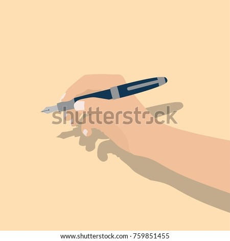 Hand holding a pen, vector illustration design. Hands collection.