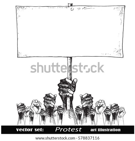 Hand holding a placard.Crowds of people protesting against social or political issue.Vintage  art illustration.