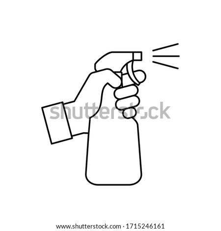 Hand holding a spray bottle line icon. Cleaning, disinfection concept. Antiseptic liquid for corona virus prevention. Alcohol sanitizer dispenser. Black outline on white background. Vector, clip art.