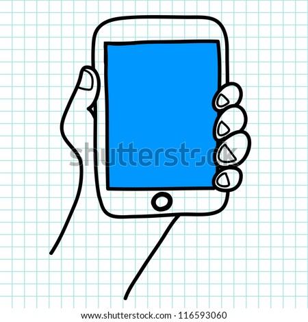 Hand holding a tablet cartoon.vector