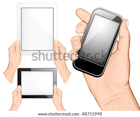 Hand holding a touchpad pc (tablet) and mobile phone. vector illustration