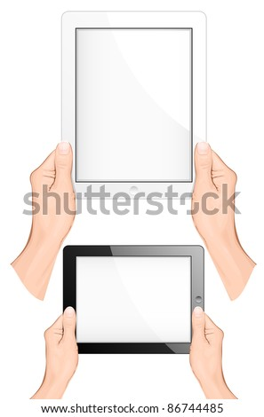 Hand holding a touchpad pc (tablet). vector illustration