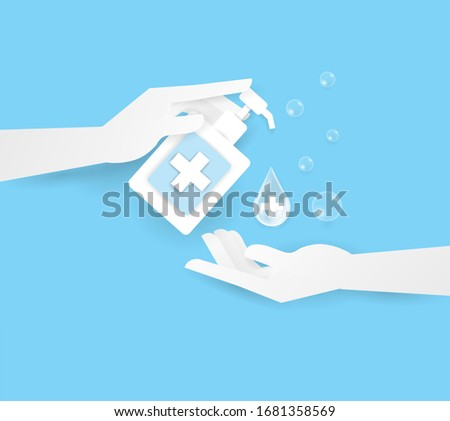 hand holding alcohol or soup in bottle top two human hand, wash your hand. personal hygiene,healthcare, disease protection, coronavirus,covid-19 Zdjęcia stock ©