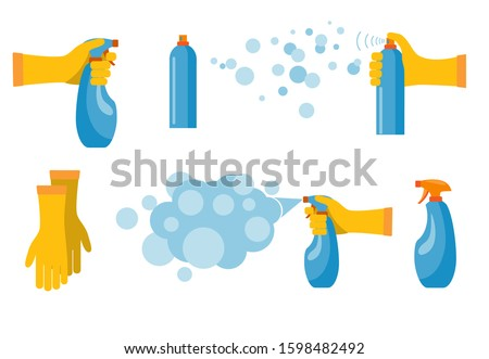 Hand holding and pressing down nozzle of aerosol can spraying liquid particles mist. Detergent and disinfectant. Antiseptic spray in flask. Vector illustration