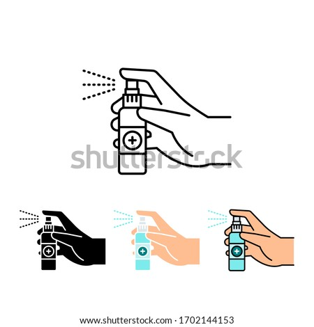 Hand holding and spraying hand sanitizer. Disinfectan or alcohol spray for antiseptic concepts. Spraying anti-bacterial sanitizer spray icon. Vector illustration. Design on white background. EPS 10.
