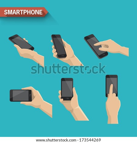 Hand holding and touching a smartphone. Vector