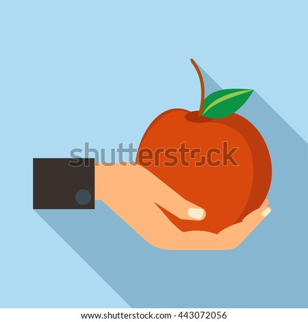 hand holding apple icon in flat