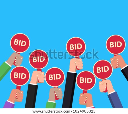 Hand holding auction paddle. Bidding concept. Auction competition. Hands rising signs with BID inscriptions. Business and trade process. Vector