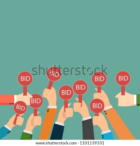 Hand holding auction paddle. Bidding icon. Auction competition. Hands rising signs with BID inscriptions. Business and trade concept. Vector