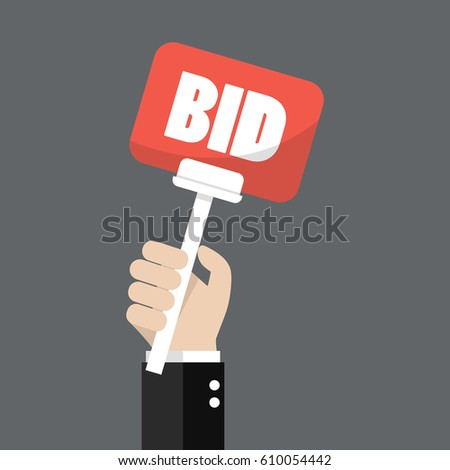 Hand holding auction paddle. Vector illustration