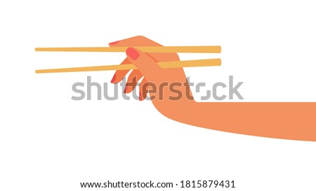 Hand holding bamboo chopsticks.  Empty chopsticks. Female hand. Vector isolated template. White background Foto stock ©