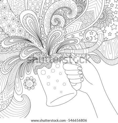Hand Holding Beer Glass For Adult Coloring Bookposter And Design Element