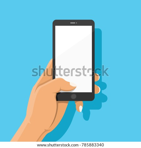 Hand holding black smartphone and finger touch on blank white screen on blue background with shadow. Human using mobile phone, Vector illustration flat cartoon design concept.