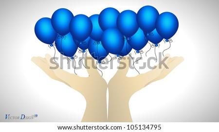Hand holding blue balloon. Vector illustration.