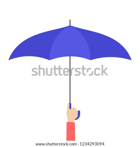 Hand holding blue umbrella as a metaphor of insurance. Protection and safety. Sign of support. Isolated flat vector illustration