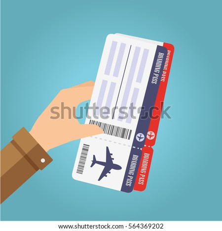 Hand holding boarding pass tickets. Air travel concept. Vector illustration.