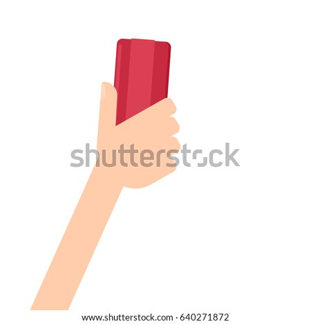 hand holding brush eraser. Clipart image isolated on white background