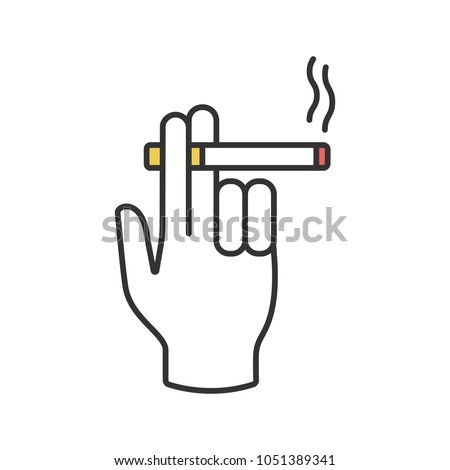 hand holding burning cigarette