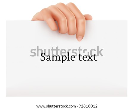 Hand holding business object. Vector illustration