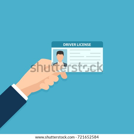 Hand holding car driver license. Vector illustration