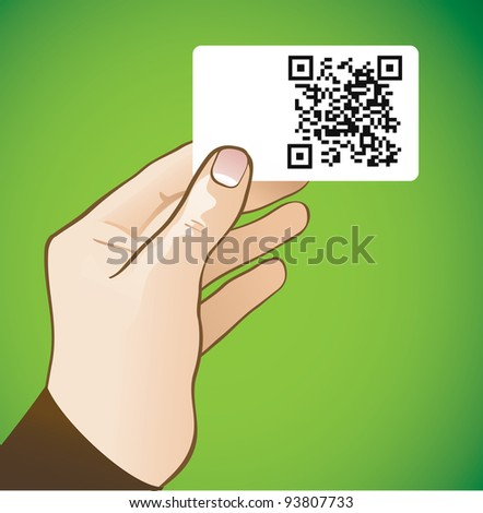 hand holding card with qr code - vector illustration