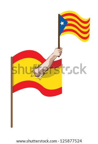 Hand holding Catalan flag through torn Spanish flag
