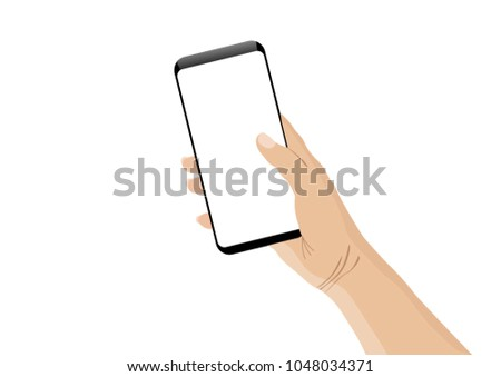 Hand holding cell phone blank on white screen and white background #1048034371
