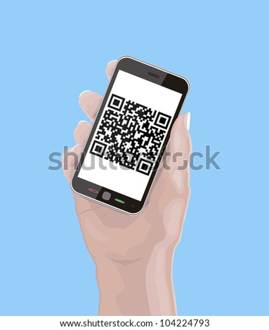 Hand holding Cellphone with fictitious QR Code