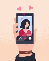 Hand holding cellphone with photo of young attractive woman on screen and hearts. Smartphone app for dating, searching for romantic partner, girlfriend. Flat cartoon colorful vector illustration.