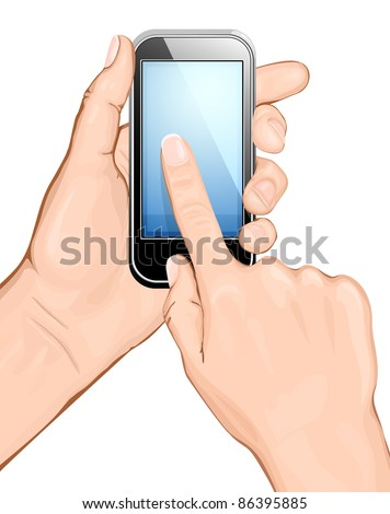 Hand holding cellular phone and touching the screen. vector illustration.  All main elements are on separate layers and can be edited as required