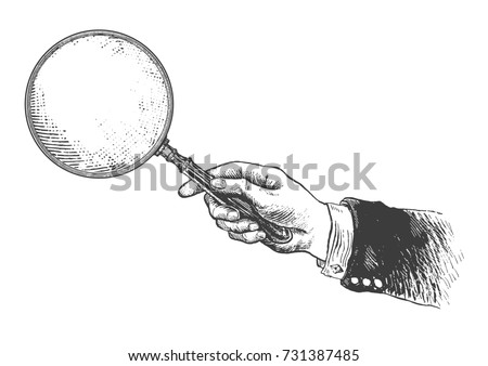 Hand holding classic styled magnifying glass. Vintage Victorian Era Engraving style retro vector lineart Hand drawn illustration