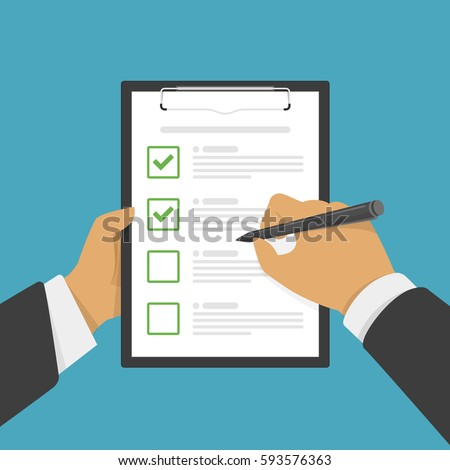 Hand holding clipboard with checklist with green check marks and pen. Businessman filling control list on notepad. Concept of Survey, quiz, to-do list or agreement. Vector illustration in flat style.