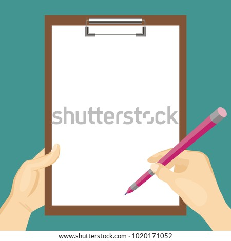 Hand holding clipboard with white blank sheet of paper and hand holding pen. Empty clipboard template. Flat style. Vector image.
