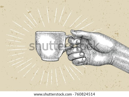 Hand holding coffee mug,Illustration vintage style,Coffee logo