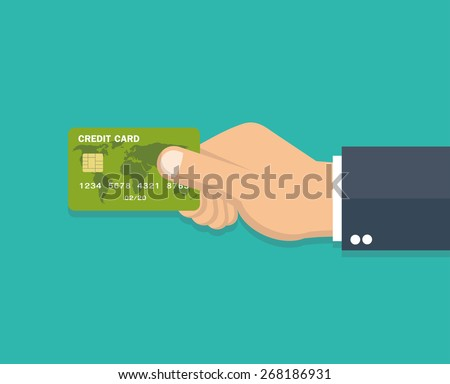 hand holding credit card   flat