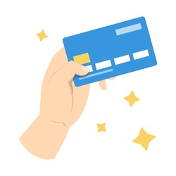 Hand holding credit card. Idea of banking and shopping. Payment by debit card. Isolated vector illustration in cartoon style