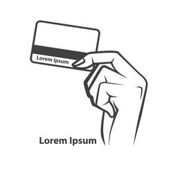 hand holding credit card, simple illustration