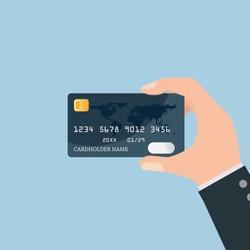 Hand holding credit card. vector illustration.
