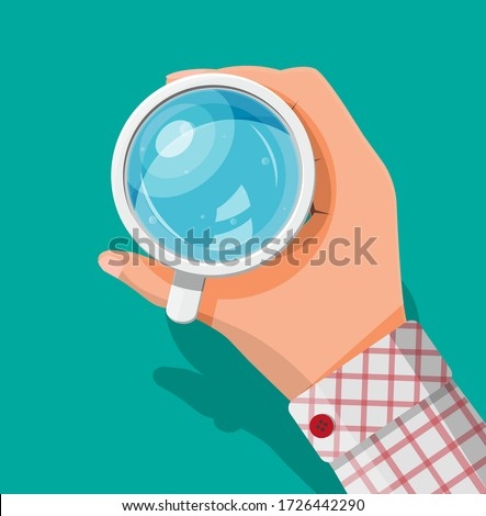 Hand holding cup with water isolated on green background. Glass of fresh pure mineral water. Carbonated soda drink. Top view. Vector illustration in flat style