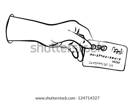 hand holding debit/credit card monochrome black and white business/finance illustration