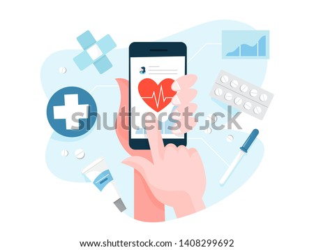 Hand holding digital device and check health. Register heartbeat on the mobile phone. Monitoring health condition. Vector illustration in cartoon style