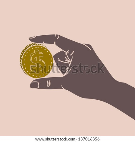 hand holding dollar vector illustration