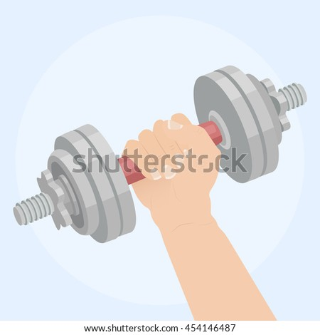 Hand holding dumbbell. Flat vector icon
