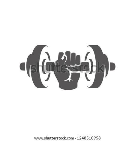 Hand holding dumbbell silhouette isolated on white background vector illustration. Vector fitness gym equipment graphics illustration.