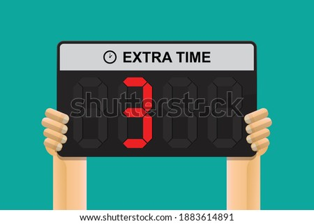 Hand holding extra time panel referee shows 3 minutes,vector illustration. ストックフォト ©