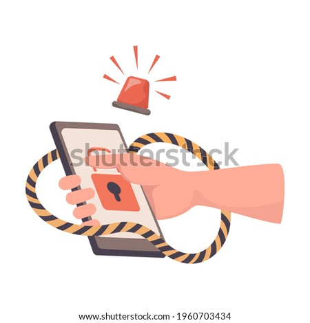 Hand holding hacked smartphone vector flat illustration. Hacker attack, phishing, stealing personal information, password, and username, credit card details. Internet fraud. Cyber security concept. Сток-фото ©