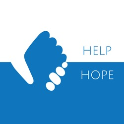 Hand holding hand for help and hope icon logo vector graphic design.